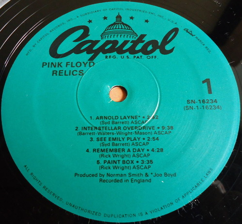 PINK FLOYD/Relics/US Re-Issue/レーベル