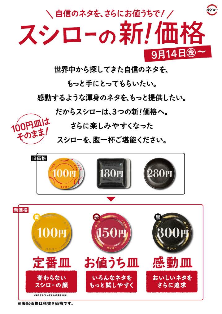 スシロー 新!価格を導入 150円のお値うち皿 300円の感動皿など