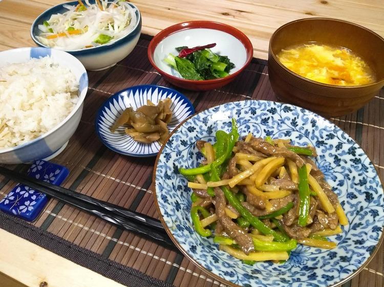 【画像】青椒肉絲定食作った!!
