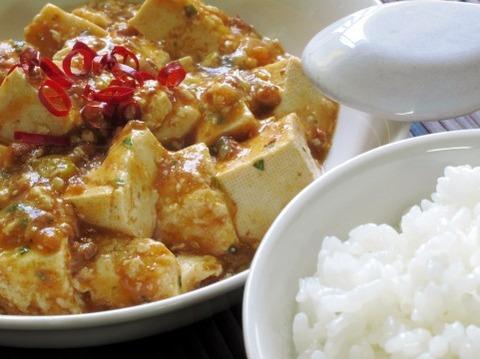 麻婆豆腐をご飯にかける→うまい