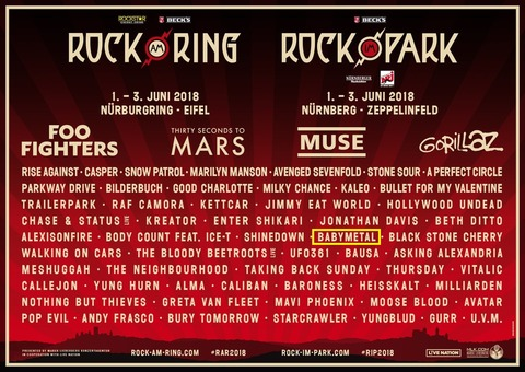 BABYMETALが主演するドイツのフェス【Rock am Ring 2018】と【Rock im Park 2018】の会場と地図
