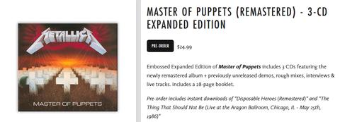 Master Of Puppets エクスパンデッドエディション