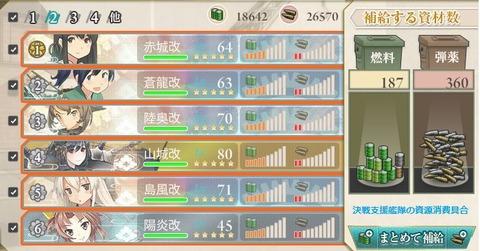 E5クリア時の決戦支援艦隊の資源消費具合