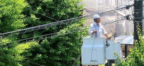 NURO光 宅外工事風景(光ケーブル引き込み)