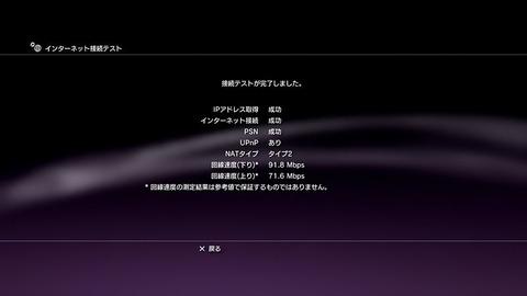 PS3インターネット接続テスト結果