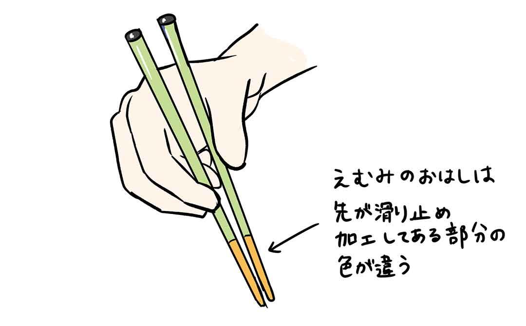 お箸の先が5cmくらいあるのはヤバイしるし