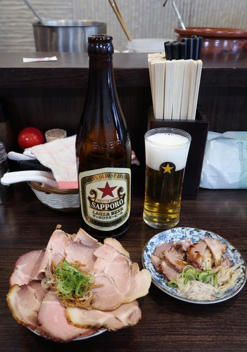 ビールと、叉焼  19.4.28   02