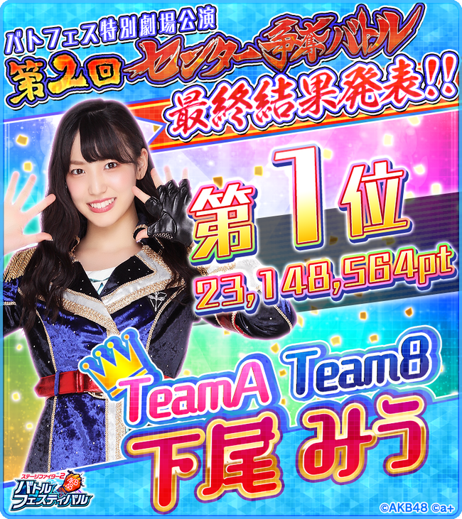 【AKB48】バトフェス特別劇場公演「第2回センター争奪バトル」最終結果がこちら!!!