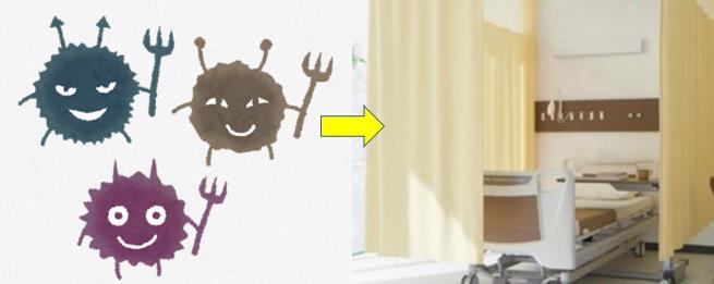 病院の間仕切りカーテンは危険細菌の温床