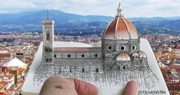 世界の観光地を描いたイラストが本物の景色とドッキング!その地に行ってマッチングさせたくなる面白い騙し絵