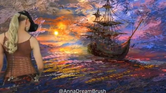 仮想空間に立体的な絵を描くVRアーティストのライブ・ペインティング。夕日に映える船の風景が美しい