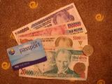 トルコの紙幣・・・額面は大きいが通貨価値は低い。上から2番目が80円弱相当の100万リラ