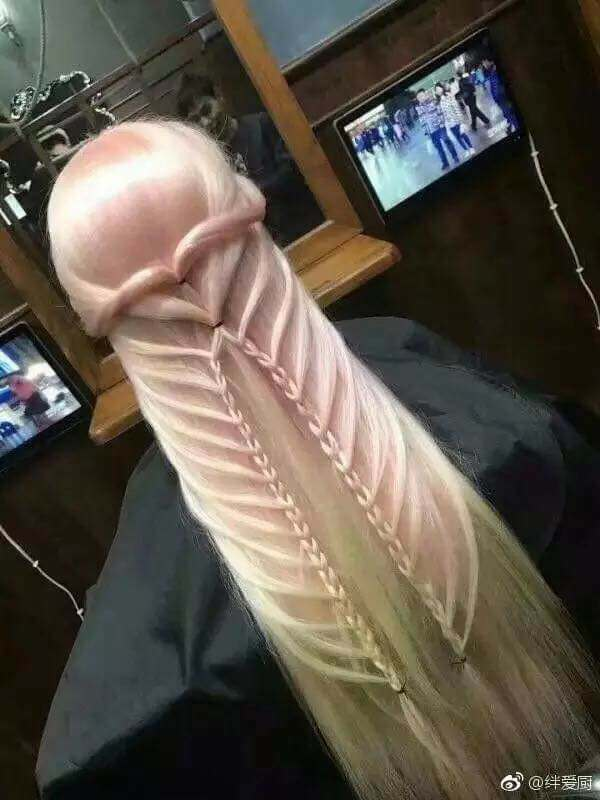 【閲覧注意】女さん、髪型をち○こにしてしまう