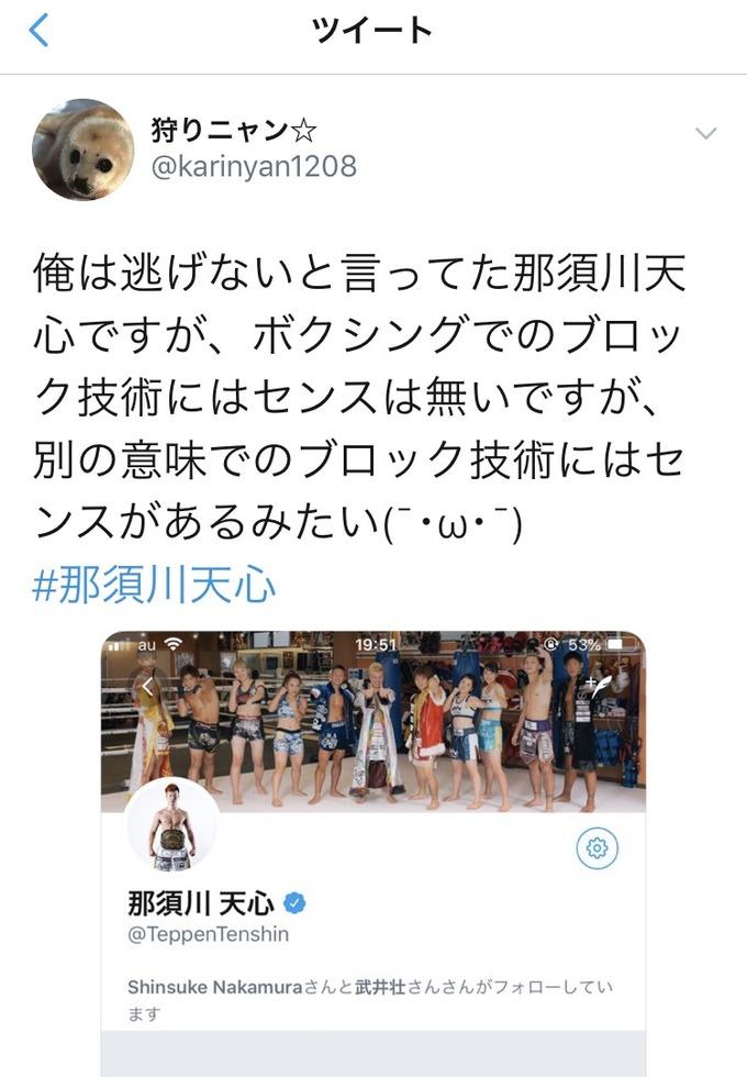 【悲報】那須川天心さん、Twitterでアンチ達を完全にブロックしてしまう