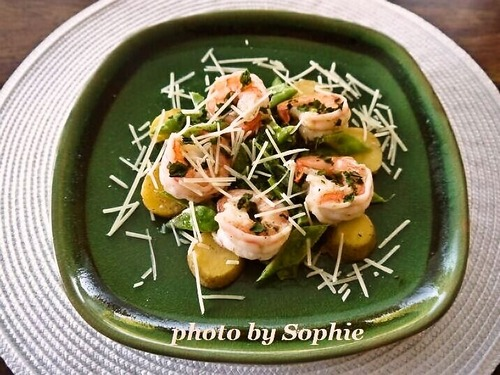 海老とスナップエンドウとポテトのサラダ