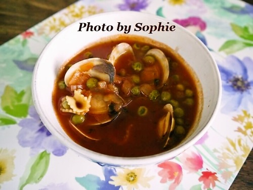 貝とパスタのスープ