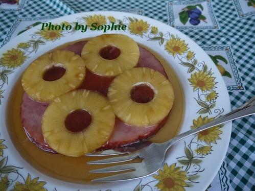 ハムのハニーグレーズ・パイナップル添え