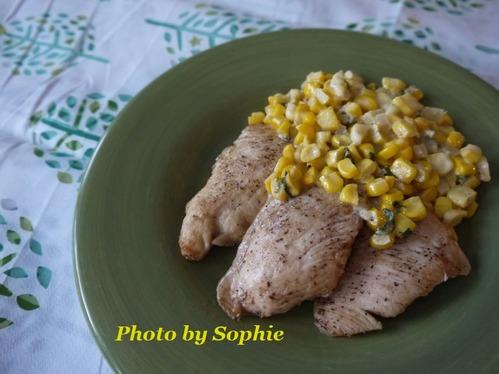 鶏胸肉のソテー・コーンクリーム添え