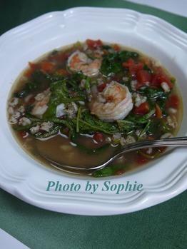 海老とファッロと緑野菜のスープ