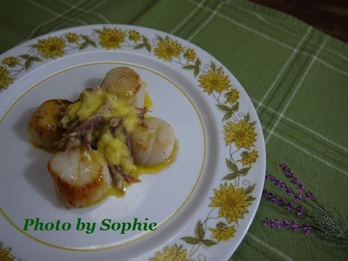 ホタテのソテー・鴨肉オランデーズソース添え