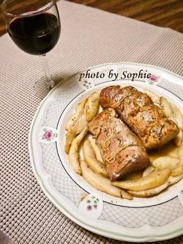 豚ヒレ肉と洋梨のロースト