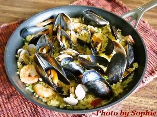貝と海老のサフランリゾット