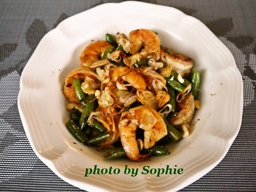 海老とインゲン豆の炒め物