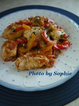 鶏胸肉とパプリカのポルトガル風炒め物
