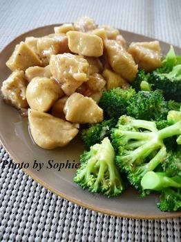 鶏肉のカラメルソース煮・ブロッコリー添え