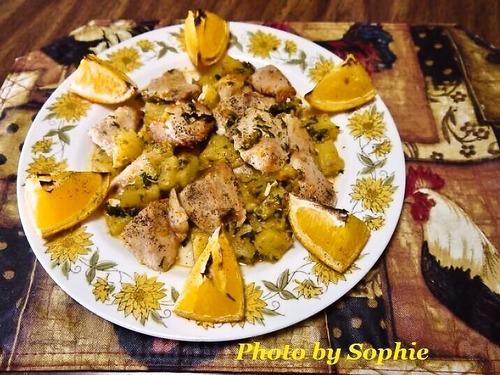 チキンとパイナップルのグリル・オレンジ添え