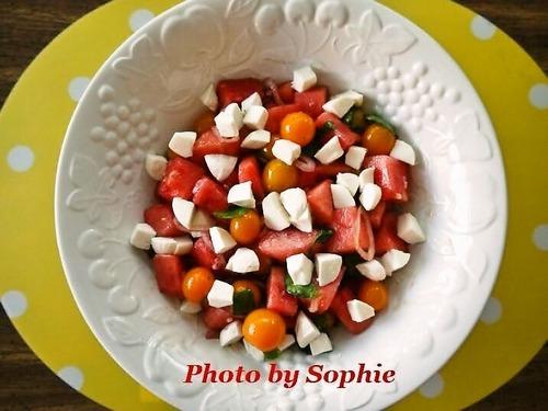 スイカとチェリートマトのサラダ