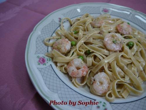 海老とグリンピースのスパゲッティーのレシピ
