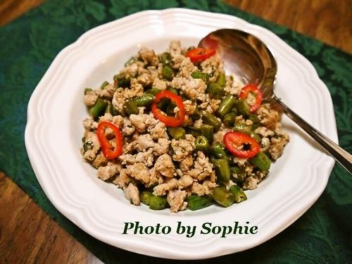 インゲン豆と豚挽肉の中華炒め