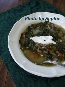 ハムと豆のスープ・コラードグリーン入り
