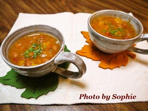 うずら豆とバターナッツスクウォッシュのスープ
