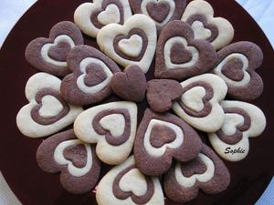 バレンタインの2色ハートクッキー