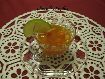 海老のマリネ冷製スープ