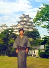 姫路城、夏塩沢紬