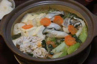 鱈の白子、牡蠣の味噌鍋