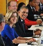 日米首脳会談に臨むオバマ大統領とケネディ駐日大使