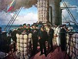 バルチック艦隊との海戦を前に三笠艦橋に揃った連合艦隊総司令部