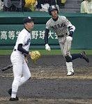 9回裏、林中選手にサヨナラ二塁打を打たれた静高、村松投手