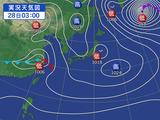 発達した低気圧の影響で荒れた天気になる列島