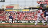 9回裏2死満塁、田島投手はエルドレッドを三振に仕留めガッツポーズ