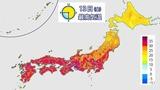 7月13日の全国最高気温予想図