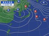 11日午前3時の天気図