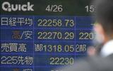 22,200円台で取引を終了した東証