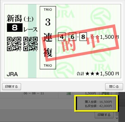 新潟JS3連複的中馬券