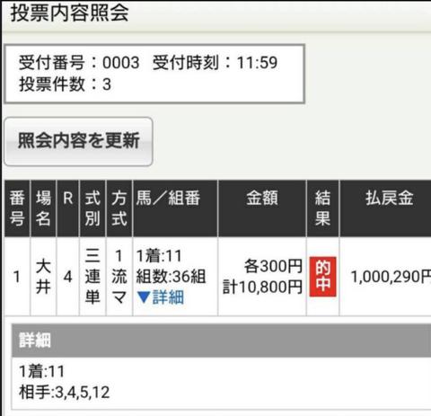 大井4R100万超え
