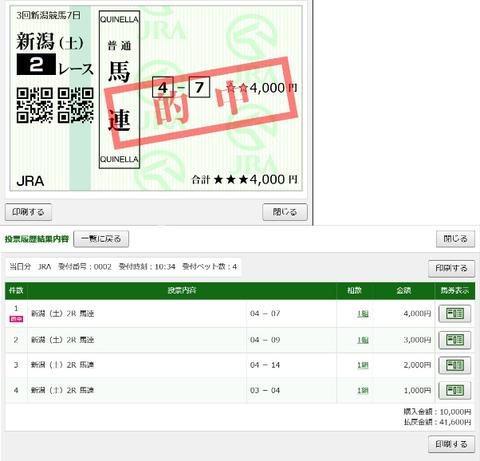 9月5日新潟2R的中馬券